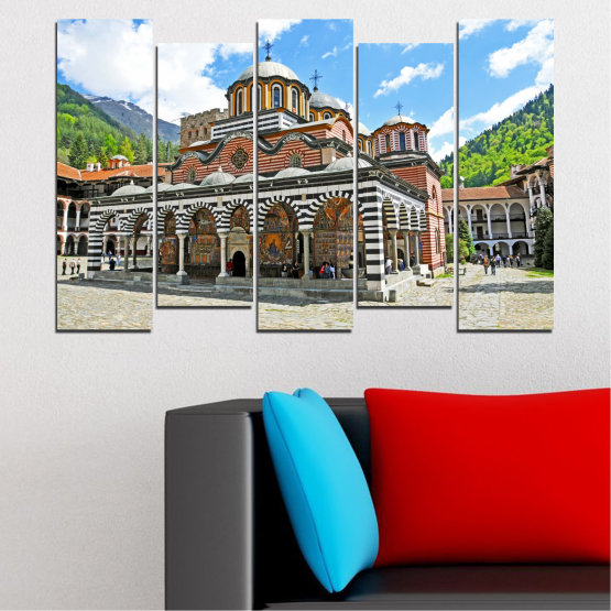 Canvas prints & wall decorative panels - 5 pieces №0465 » Turquoise, Gray, White, Dark grey » Bulgaria, Landmark, Rila monastery Form #3