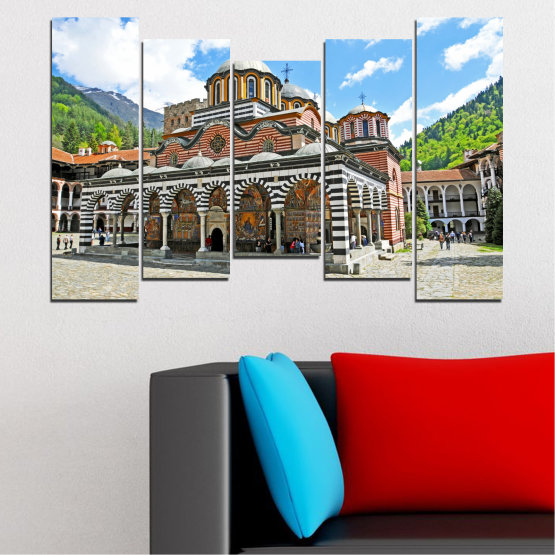 Canvas prints & wall decorative panels - 5 pieces №0465 » Turquoise, Gray, White, Dark grey » Bulgaria, Landmark, Rila monastery Form #4