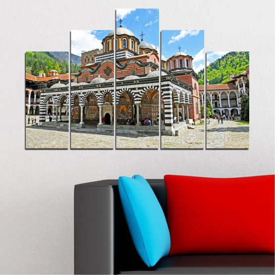 Canvas prints & wall decorative panels - 5 pieces №0465 » Turquoise, Gray, White, Dark grey » Bulgaria, Landmark, Rila monastery Form #5