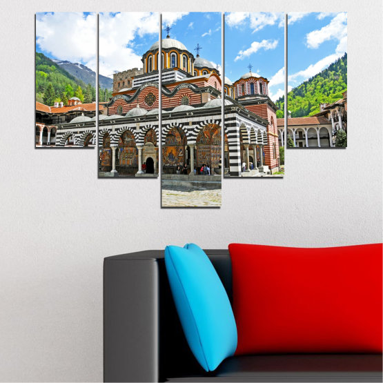 Canvas prints & wall decorative panels - 5 pieces №0465 » Turquoise, Gray, White, Dark grey » Bulgaria, Landmark, Rila monastery Form #6
