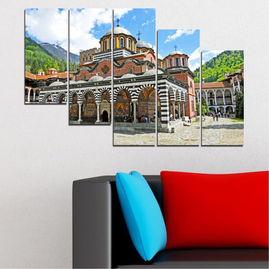 Canvas prints & wall decorative panels - 5 pieces №0465 » Turquoise, Gray, White, Dark grey » Bulgaria, Landmark, Rila monastery Form #7