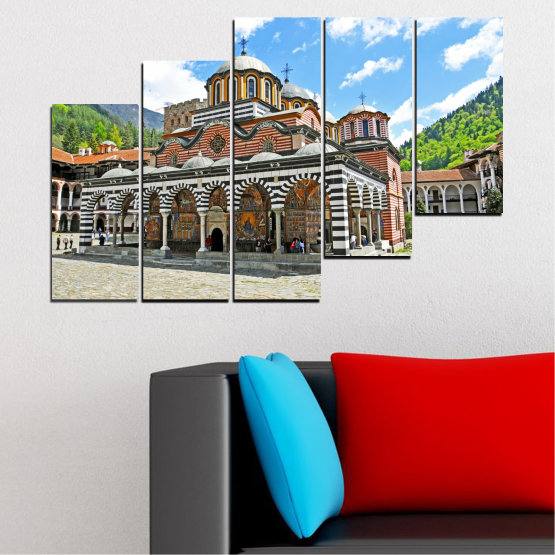 Canvas prints & wall decorative panels - 5 pieces №0465 » Turquoise, Gray, White, Dark grey » Bulgaria, Landmark, Rila monastery Form #8