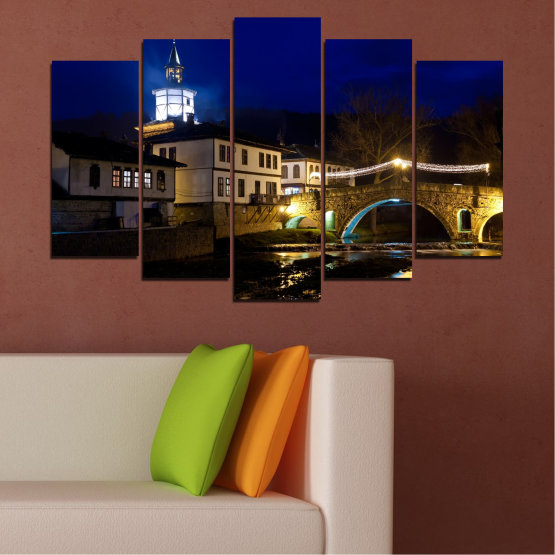 Canvas prints & wall decorative panels - 5 pieces №0466 » Blue, Brown, Black, Dark grey » Landscape, Bulgaria, Night, Tryavna Form #1