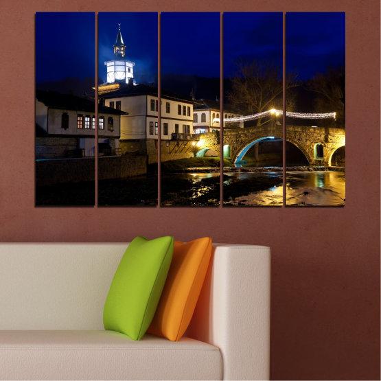 Canvas prints & wall decorative panels - 5 pieces №0466 » Blue, Brown, Black, Dark grey » Landscape, Bulgaria, Night, Tryavna Form #2
