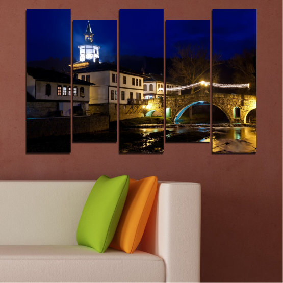 Canvas prints & wall decorative panels - 5 pieces №0466 » Blue, Brown, Black, Dark grey » Landscape, Bulgaria, Night, Tryavna Form #3