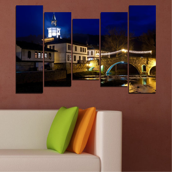 Canvas prints & wall decorative panels - 5 pieces №0466 » Blue, Brown, Black, Dark grey » Landscape, Bulgaria, Night, Tryavna Form #4
