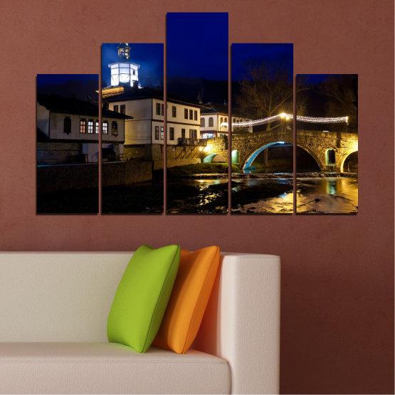 Canvas prints & wall decorative panels - 5 pieces №0466 » Blue, Brown, Black, Dark grey » Landscape, Bulgaria, Night, Tryavna Form #5