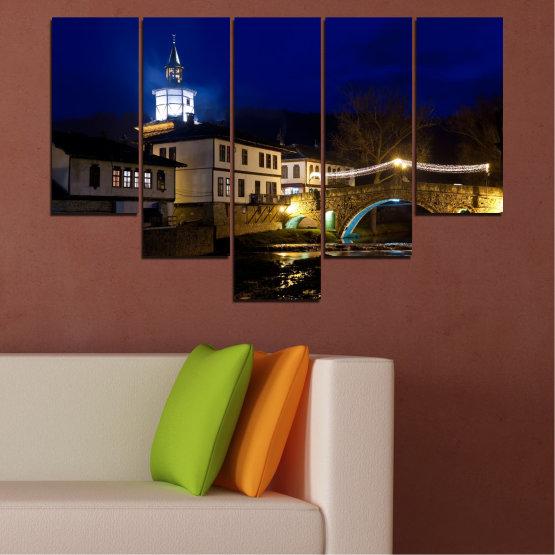Canvas prints & wall decorative panels - 5 pieces №0466 » Blue, Brown, Black, Dark grey » Landscape, Bulgaria, Night, Tryavna Form #6