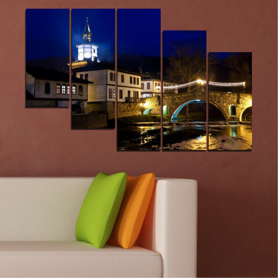 Canvas prints & wall decorative panels - 5 pieces №0466 » Blue, Brown, Black, Dark grey » Landscape, Bulgaria, Night, Tryavna Form #7