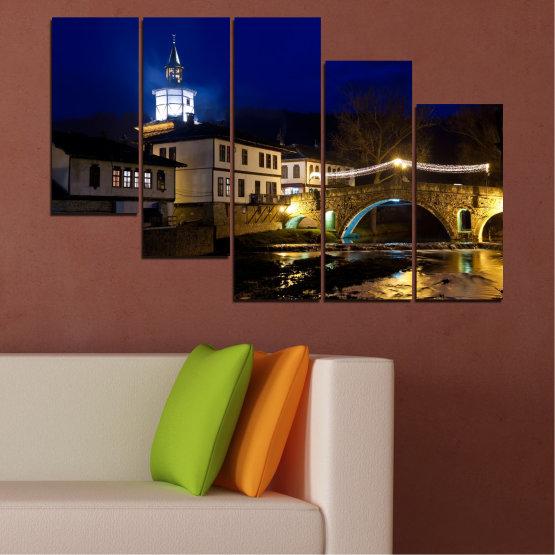 Canvas prints & wall decorative panels - 5 pieces №0466 » Blue, Brown, Black, Dark grey » Landscape, Bulgaria, Night, Tryavna Form #7