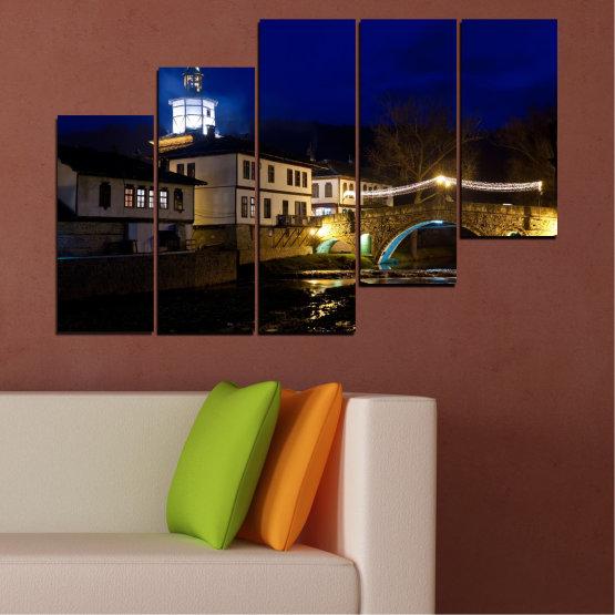 Canvas prints & wall decorative panels - 5 pieces №0466 » Blue, Brown, Black, Dark grey » Landscape, Bulgaria, Night, Tryavna Form #8