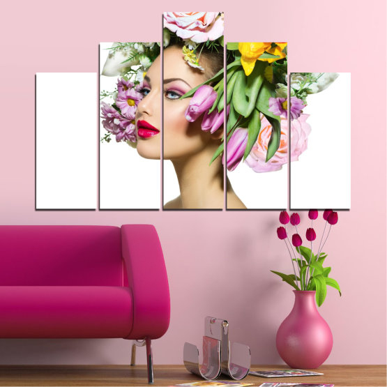 Canvas prints & wall decorative panels - 5 pieces №0467 » Brown, Gray, White, Beige » Flowers, Woman, Collage, Fashion Form #5