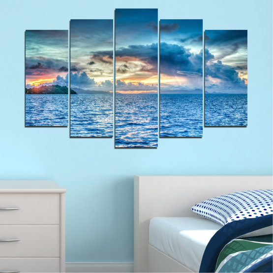 Canvas prints & wall decorative panels - 5 pieces №0468 » Blue, Turquoise, Gray, Dark grey » Nature, Landscape, Sea, Water, Sky Form #1