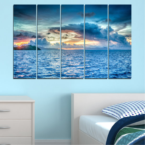 Canvas prints & wall decorative panels - 5 pieces №0468 » Blue, Turquoise, Gray, Dark grey » Landscape, Nature, Sea, Water, Sky Form #2