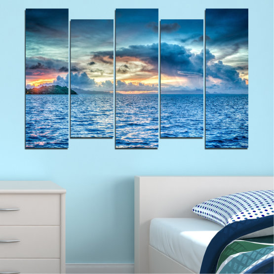Canvas prints & wall decorative panels - 5 pieces №0468 » Blue, Turquoise, Gray, Dark grey » Landscape, Nature, Sea, Water, Sky Form #3