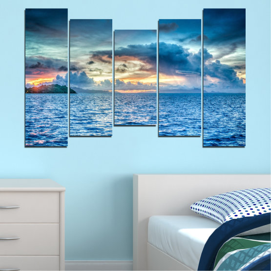 Canvas prints & wall decorative panels - 5 pieces №0468 » Blue, Turquoise, Gray, Dark grey » Landscape, Nature, Sea, Water, Sky Form #4