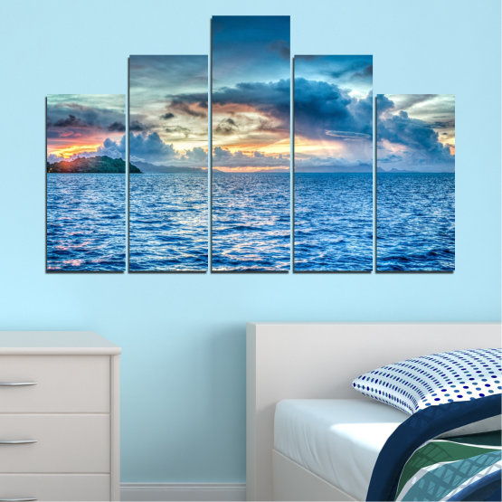 Canvas prints & wall decorative panels - 5 pieces №0468 » Blue, Turquoise, Gray, Dark grey » Landscape, Nature, Sea, Water, Sky Form #5