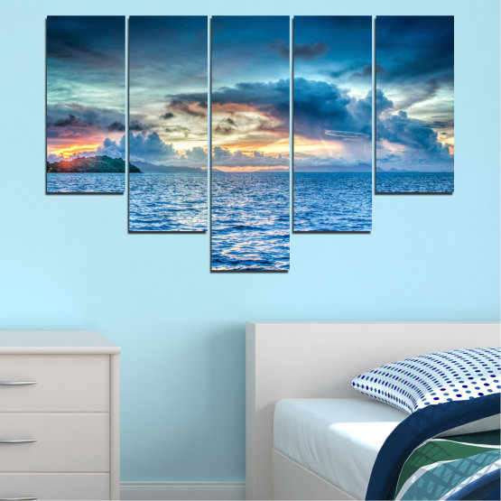 Canvas prints & wall decorative panels - 5 pieces №0468 » Blue, Turquoise, Gray, Dark grey » Landscape, Nature, Sea, Water, Sky Form #6