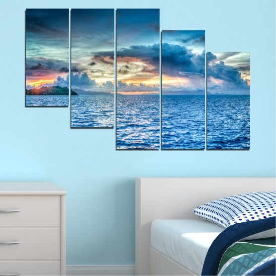 Canvas prints & wall decorative panels - 5 pieces №0468 » Blue, Turquoise, Gray, Dark grey » Landscape, Nature, Sea, Water, Sky Form #7