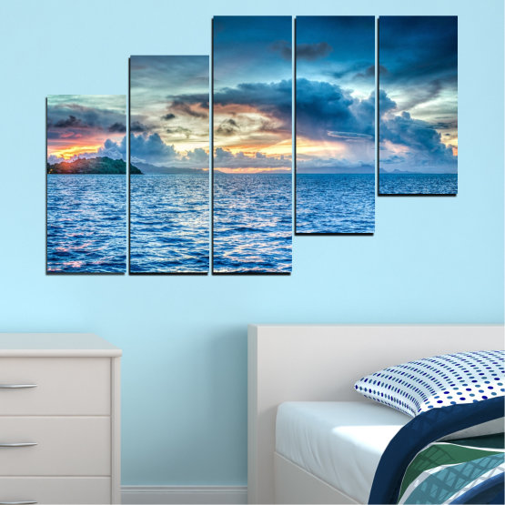 Canvas prints & wall decorative panels - 5 pieces №0468 » Blue, Turquoise, Gray, Dark grey » Nature, Landscape, Sea, Water, Sky Form #8