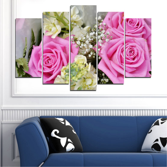 Canvas prints & wall decorative panels - 5 pieces №0469 » Pink, Gray, Beige, Milky pink » Flowers, Rose, Bouquet Form #1