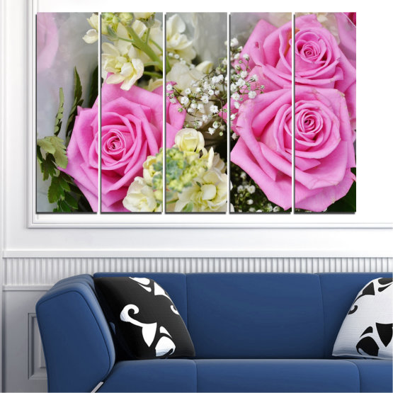 Canvas prints & wall decorative panels - 5 pieces №0469 » Pink, Gray, Beige, Milky pink » Flowers, Rose, Bouquet Form #2