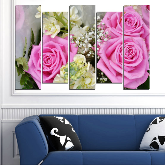 Canvas prints & wall decorative panels - 5 pieces №0469 » Pink, Gray, Beige, Milky pink » Flowers, Rose, Bouquet Form #3