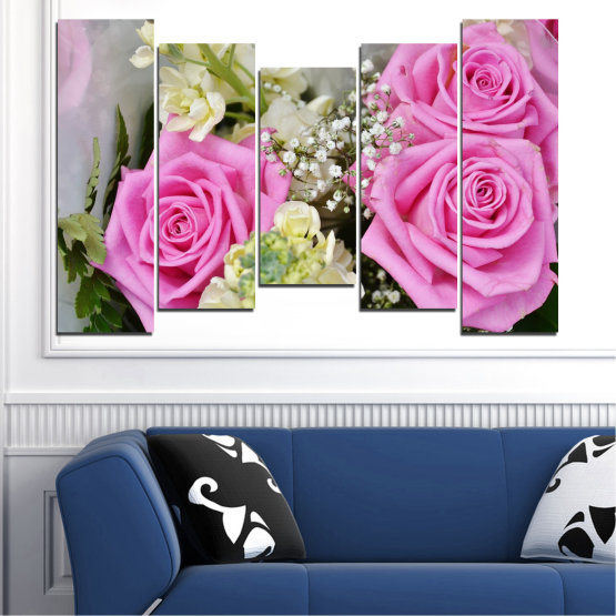 Canvas prints & wall decorative panels - 5 pieces №0469 » Pink, Gray, Beige, Milky pink » Flowers, Rose, Bouquet Form #4