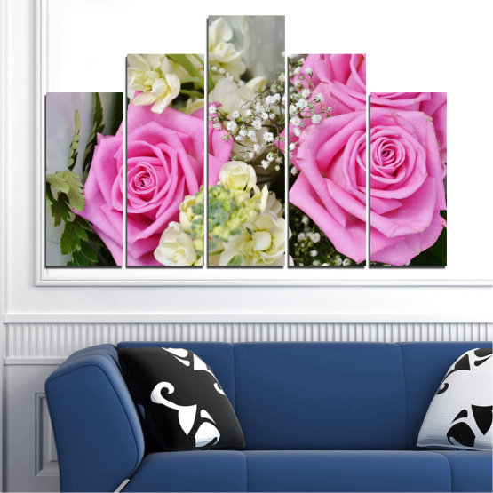 Canvas prints & wall decorative panels - 5 pieces №0469 » Pink, Gray, Beige, Milky pink » Flowers, Rose, Bouquet Form #5