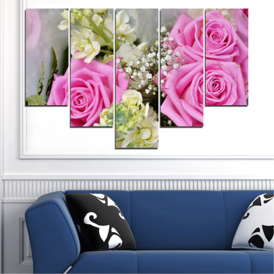 Canvas prints & wall decorative panels - 5 pieces №0469 » Pink, Gray, Beige, Milky pink » Flowers, Rose, Bouquet Form #6