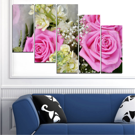 Canvas prints & wall decorative panels - 5 pieces №0469 » Pink, Gray, Beige, Milky pink » Flowers, Rose, Bouquet Form #7