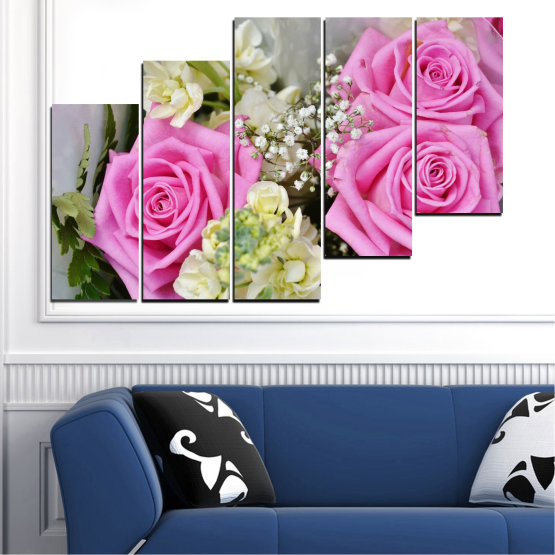 Canvas prints & wall decorative panels - 5 pieces №0469 » Pink, Gray, Beige, Milky pink » Flowers, Rose, Bouquet Form #8