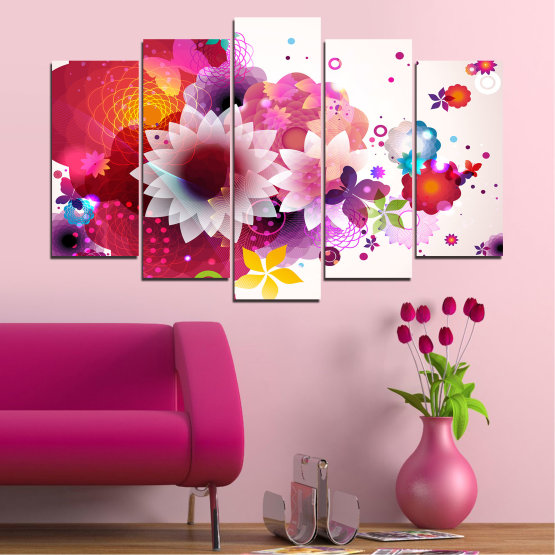 Canvas prints & wall decorative panels - 5 pieces №0047 » Red, Pink, Gray, White, Milky pink » Abstraction, Flowers, Colorful Form #1
