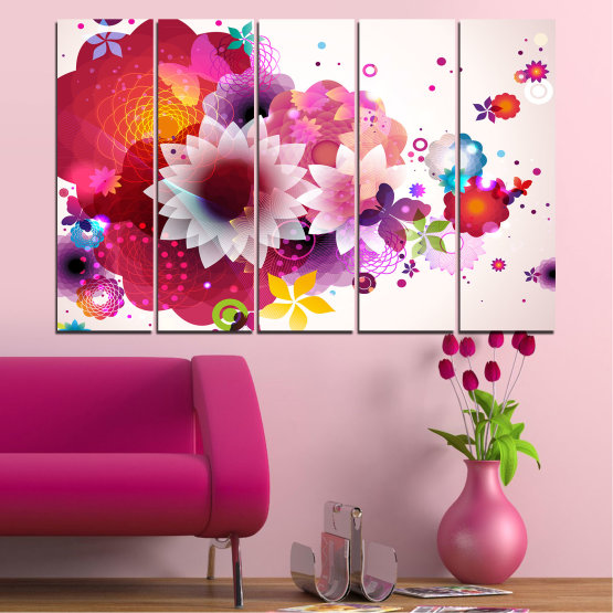 Canvas prints & wall decorative panels - 5 pieces №0047 » Red, Pink, Gray, White, Milky pink » Abstraction, Flowers, Colorful Form #2