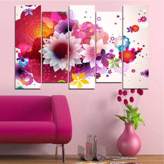Canvas prints & wall decorative panels - 5 pieces №0047 » Red, Pink, Gray, White, Milky pink » Abstraction, Flowers, Colorful Form #3