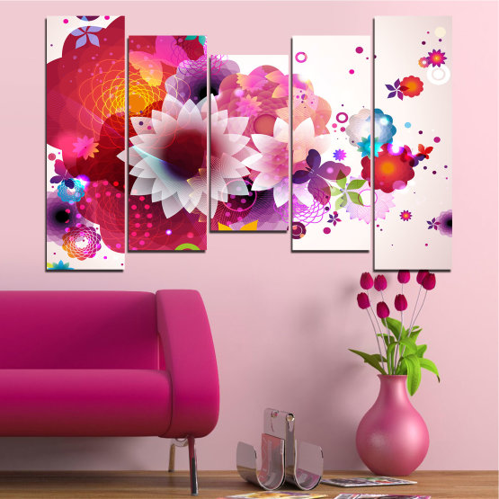 Canvas prints & wall decorative panels - 5 pieces №0047 » Red, Pink, Gray, White, Milky pink » Abstraction, Flowers, Colorful Form #4