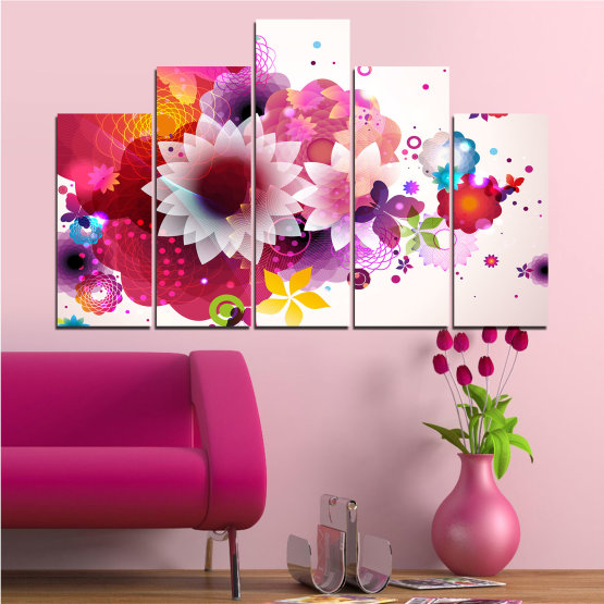 Canvas prints & wall decorative panels - 5 pieces №0047 » Red, Pink, Gray, White, Milky pink » Abstraction, Flowers, Colorful Form #5