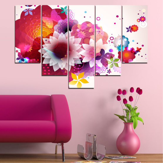 Canvas prints & wall decorative panels - 5 pieces №0047 » Red, Pink, Gray, White, Milky pink » Abstraction, Flowers, Colorful Form #6