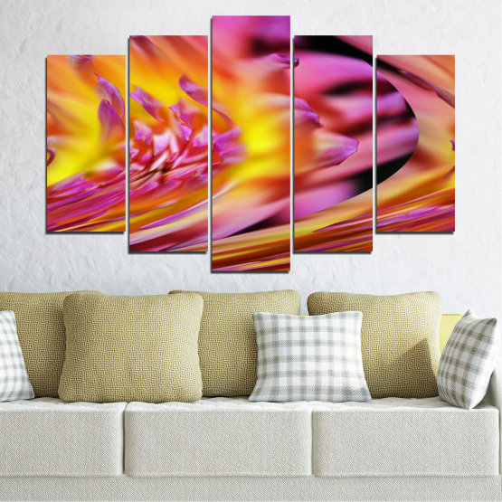 Canvas prints & wall decorative panels - 5 pieces №0470 » Red, Pink, Purple, Orange, Gray » Flowers, Abstraction, Leaf Form #1