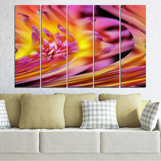 Canvas prints & wall decorative panels - 5 pieces №0470 » Red, Pink, Purple, Orange, Gray » Flowers, Abstraction, Leaf Form #2