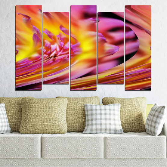 Canvas prints & wall decorative panels - 5 pieces №0470 » Red, Pink, Purple, Orange, Gray » Flowers, Abstraction, Leaf Form #3