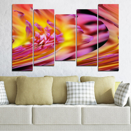 Canvas prints & wall decorative panels - 5 pieces №0470 » Red, Pink, Purple, Orange, Gray » Flowers, Abstraction, Leaf Form #4