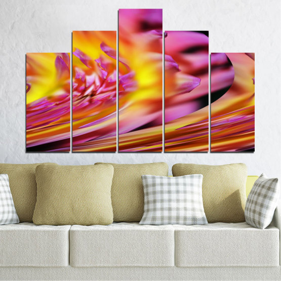 Canvas prints & wall decorative panels - 5 pieces №0470 » Red, Pink, Purple, Orange, Gray » Flowers, Abstraction, Leaf Form #5