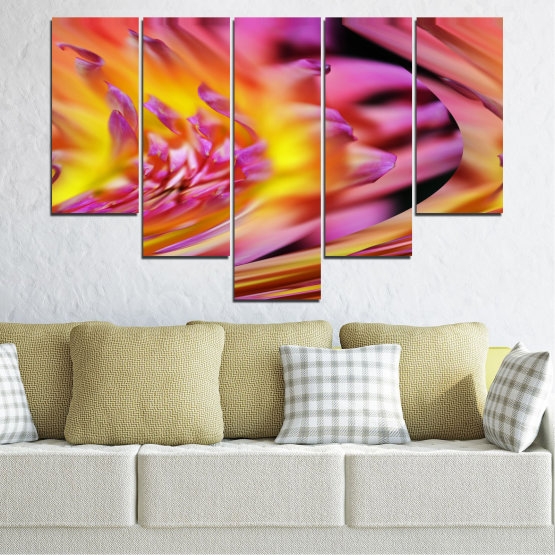 Canvas prints & wall decorative panels - 5 pieces №0470 » Red, Pink, Purple, Orange, Gray » Flowers, Abstraction, Leaf Form #6