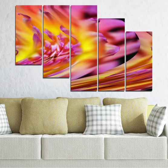 Canvas prints & wall decorative panels - 5 pieces №0470 » Red, Pink, Purple, Orange, Gray » Flowers, Abstraction, Leaf Form #7