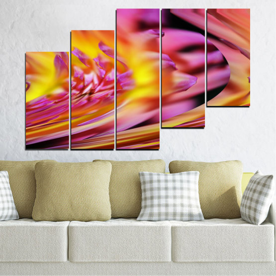 Canvas prints & wall decorative panels - 5 pieces №0470 » Red, Pink, Purple, Orange, Gray » Flowers, Abstraction, Leaf Form #8
