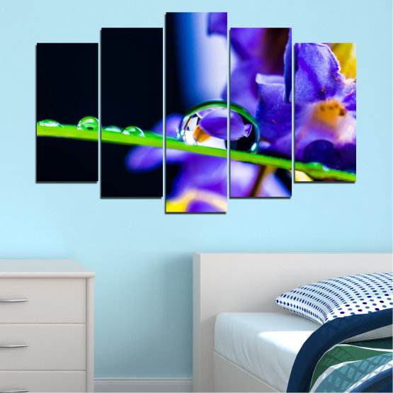 Canvas prints & wall decorative panels - 5 pieces №0471 » Purple, Blue, Black, Gray, White » Flowers, Nature, Drops Form #1