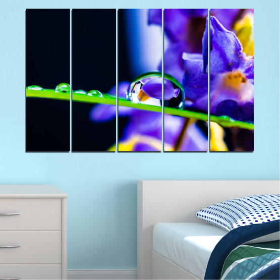 Canvas prints & wall decorative panels - 5 pieces №0471 » Purple, Blue, Black, Gray, White » Flowers, Nature, Drops Form #2