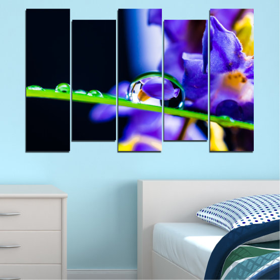 Canvas prints & wall decorative panels - 5 pieces №0471 » Purple, Blue, Black, Gray, White » Flowers, Nature, Drops Form #3