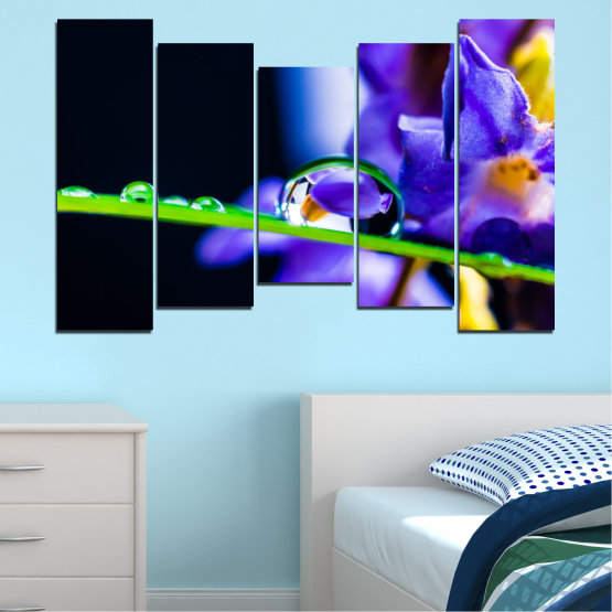 Canvas prints & wall decorative panels - 5 pieces №0471 » Purple, Blue, Black, Gray, White » Flowers, Nature, Drops Form #4